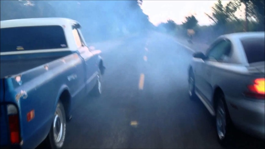 C10 Truck Street Races A Mustang And WRECKS HARD!