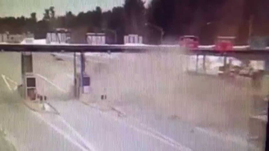 Tractor-Trailer Slams Into Dover NH Tollbooth - Actual Footage