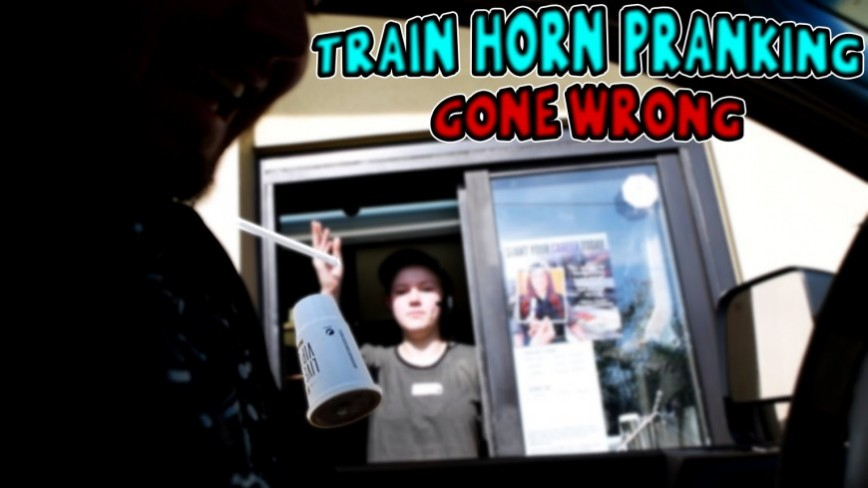Train Horn Prank, Mans Truck Gets Ruined!