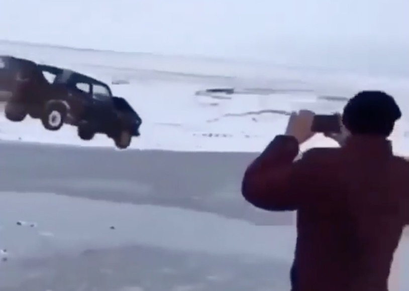 Jumping a Car into a Frozen Lake is Probably a Bad Idea, These Guys Don't Care