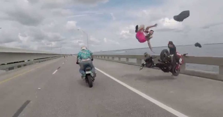 Goofball Standing in the Highway Causes Brutal Motorcycle Wreck