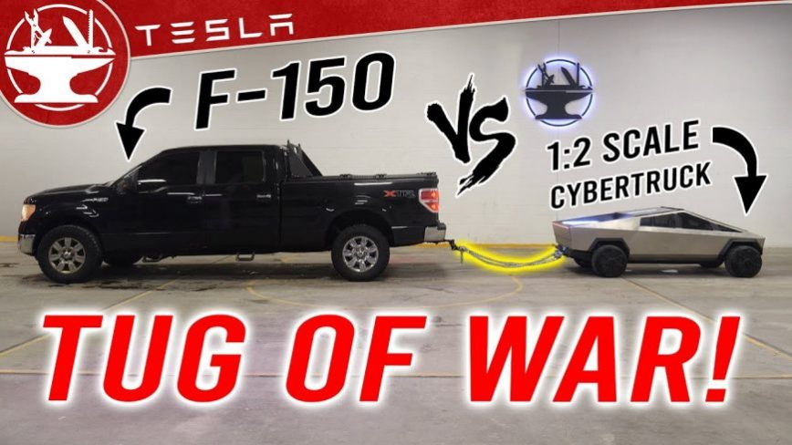Half-Scale Tesla Cybertruck Dominates Ford F-150 in Tug-of-War