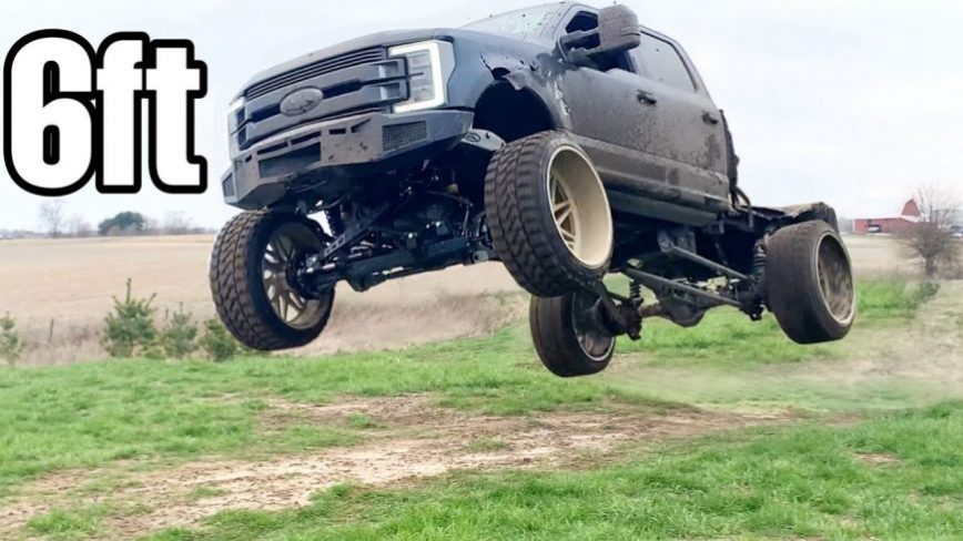 Full Send - SEMA Built F-350 Sent Off Ramps, 6 Feet Into the Air