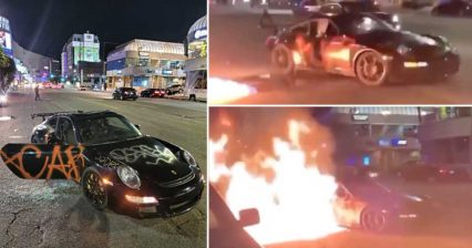 Beverly Hills Rioters Set Fire to Porsche GT3 RS