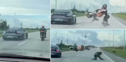 Motorcycle Rider Sends it in a Roll Race, Flips Over Backward!