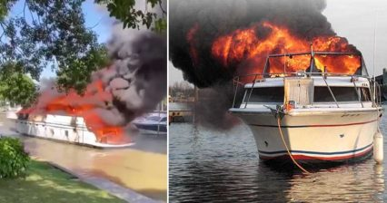 Massive Yacht Goes up in Flames, Drifts Through Marina as Onlookers Panic