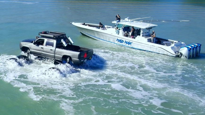 Just About Every Law Enforcement Agency Showed Up When WhistlinDiesel Drove His Monster Truck in the Gulf of Mexico
