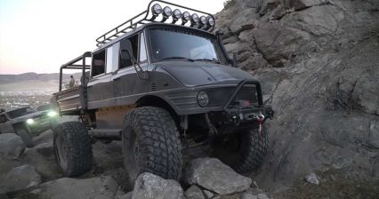 Massive Lifted Mercedes-Benz Unimog Takes on Rock Climb Like a Boss