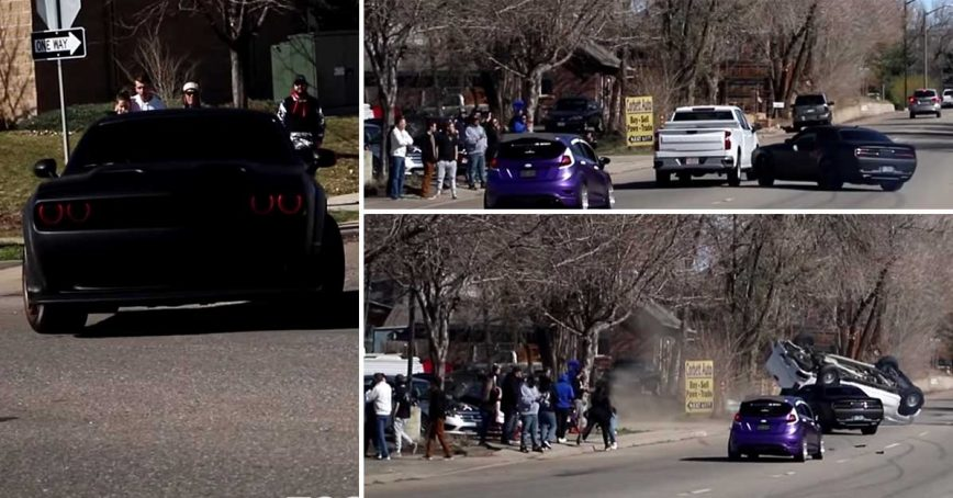Hellcat Flips Over Pickup Truck in Most Disastrous Cars and Coffee Exit of All Time